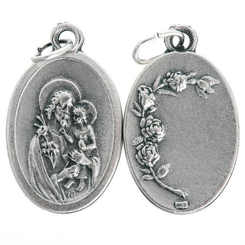 Saint Joseph oval medal in oxidised metal 20mm 1