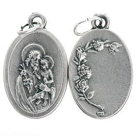 Medalla San José de metal oxidado ovalada 20mm s1