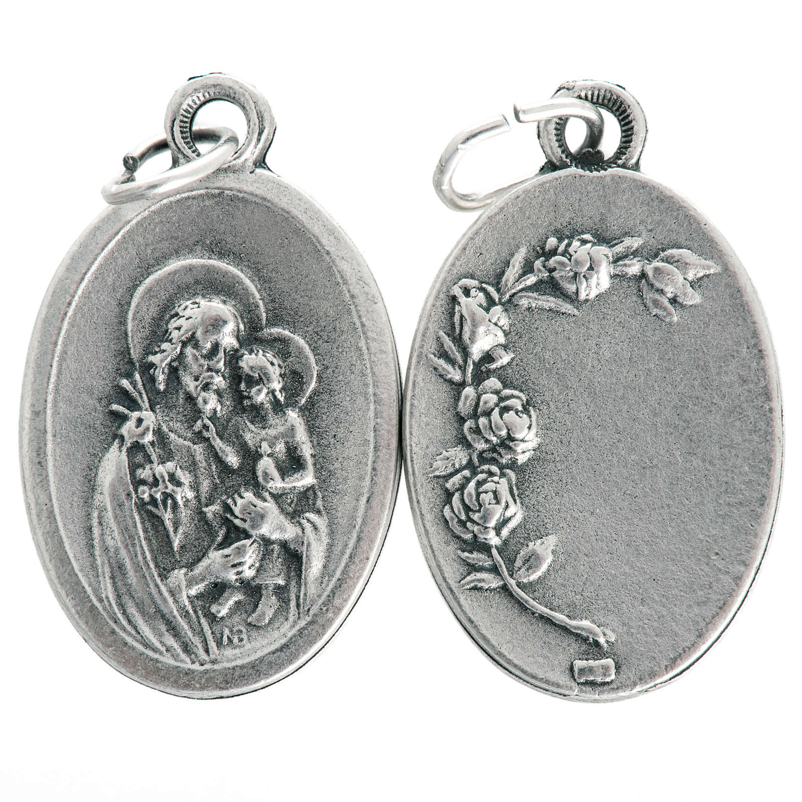 Medaglia San Giuseppe ovale metallo ossidato 20 mm 4