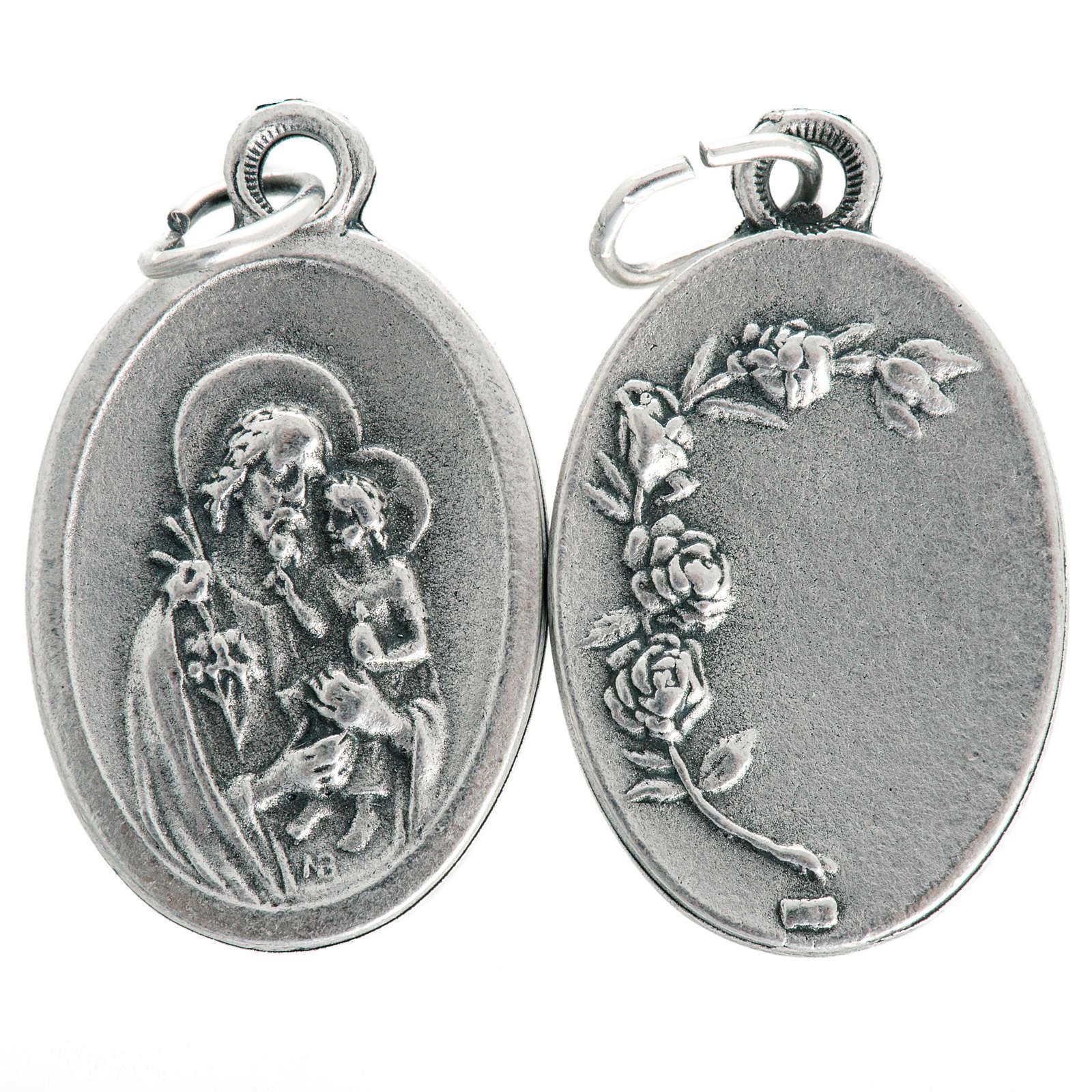 Saint Joseph oval medal in oxidised metal 20mm 4