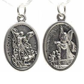Medaglia devozionale San Michele metallo ossidato 20 mm s1