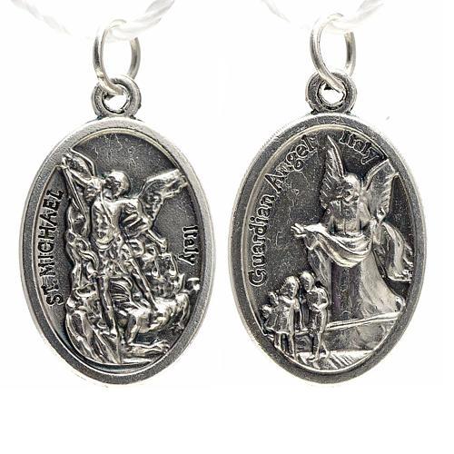 Medaglia devozionale San Michele metallo ossidato 20 mm 1