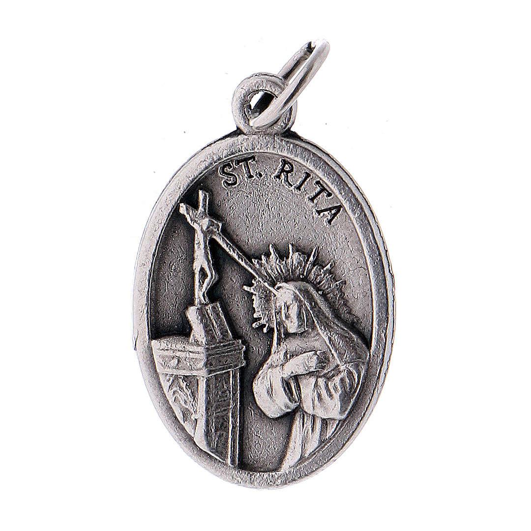 Medalla Santa Rita de metal oxidado 20mm 4