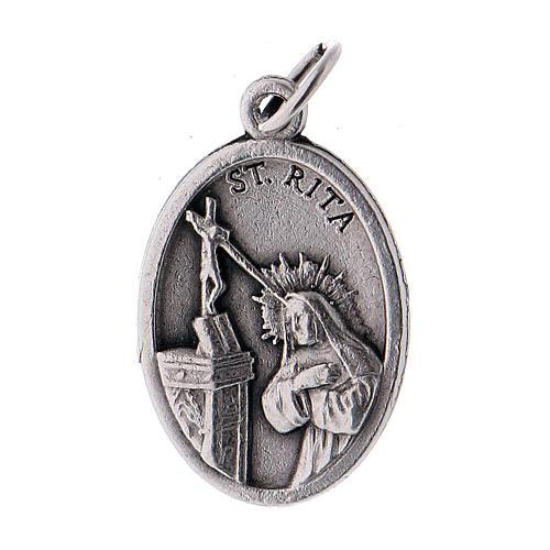 Medalla Santa Rita de metal oxidado 20mm 1