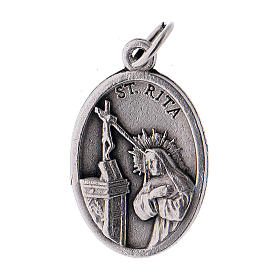 Medaglia Santa Rita metallo ossidato 20 mm s1