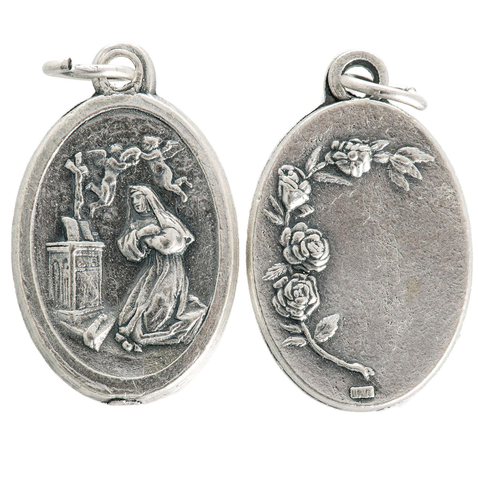 Saint Rita medal in oxidised metal 20mm 4