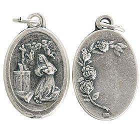 Saint Rita medal in oxidised metal 20mm s1