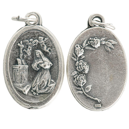 Saint Rita medal in oxidised metal 20mm 1