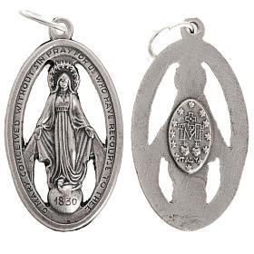 Medalla de la Milagrosa perforada en metal oxidado 32mm s1