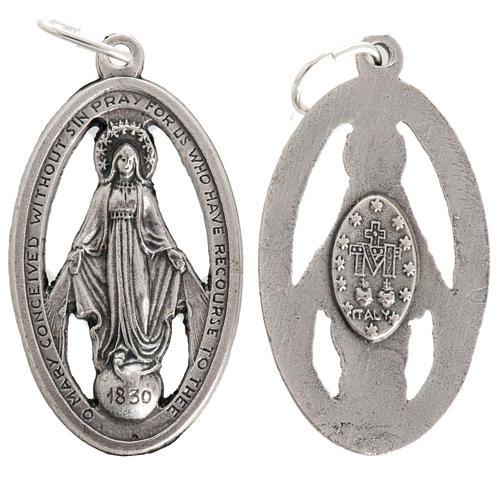 Medalla de la Milagrosa perforada en metal oxidado 32mm 1
