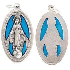 Medals: Miraculous Medal, perforated in oxidised enamelled metal, 32 mm