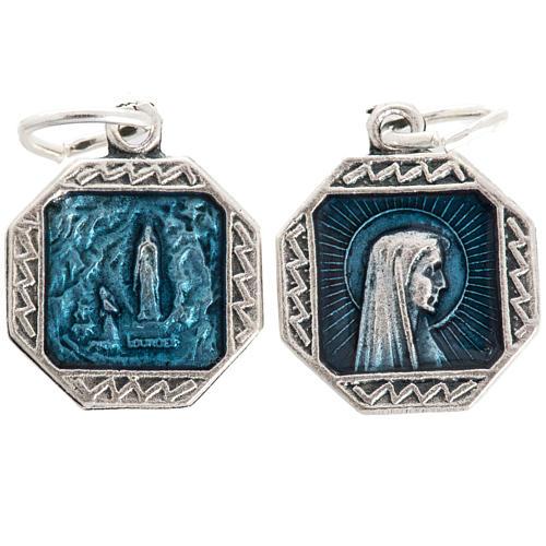 Our Lady of Lourdes medal in light blue enamel 12mm 1