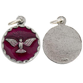 Medals: Confirmation medal, red enamel and Holy Spirit 18mm