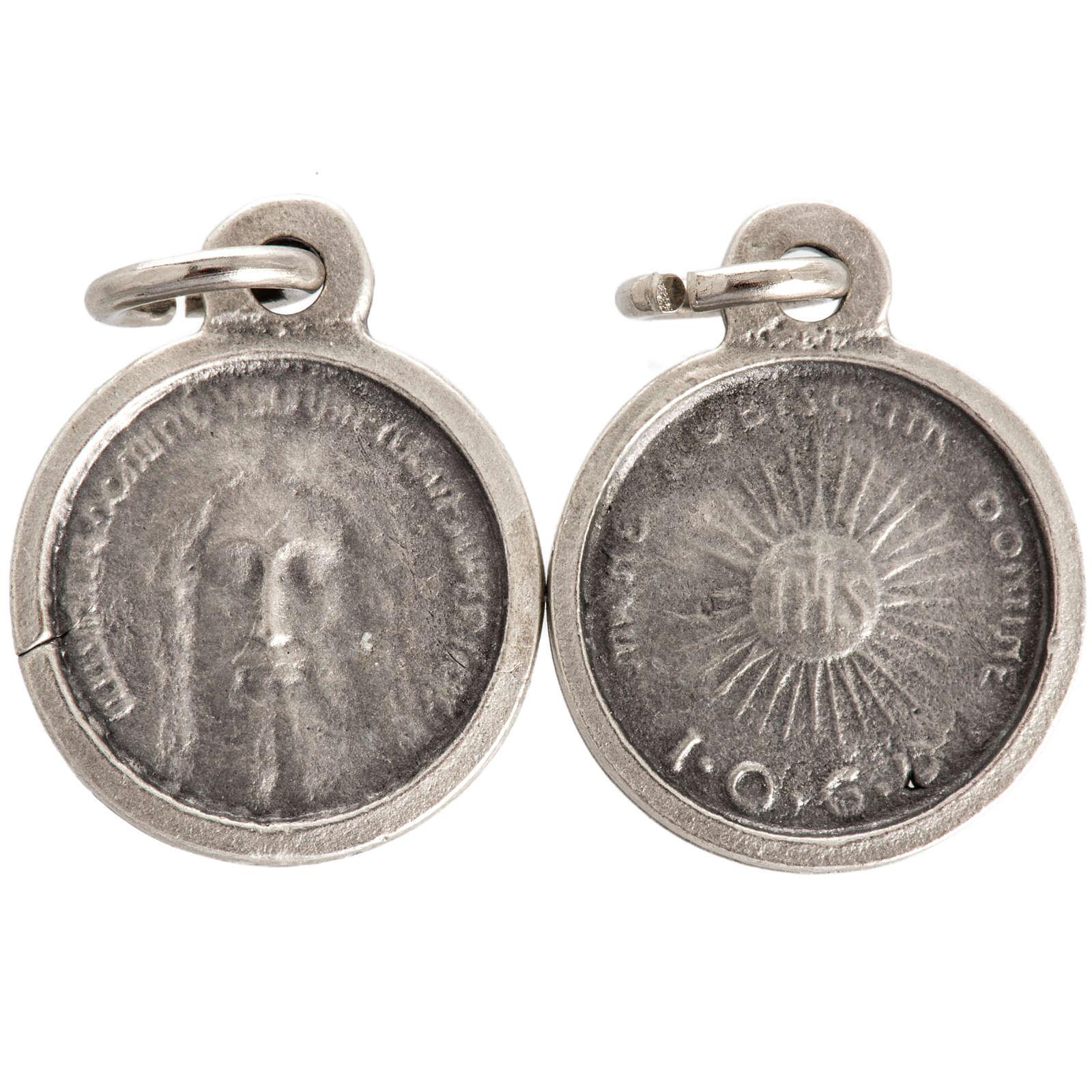 Medalla con rostro de Cristo metal plateado 16mm 4