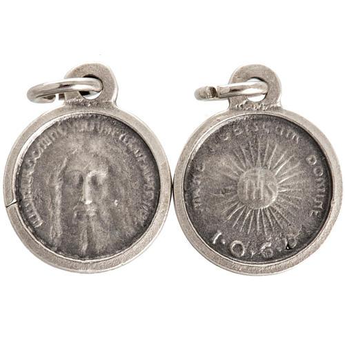 Medalla con rostro de Cristo metal plateado 16mm 1