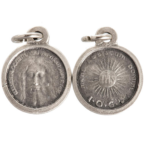 Face of Christ round medal in silver metal 16mm 1