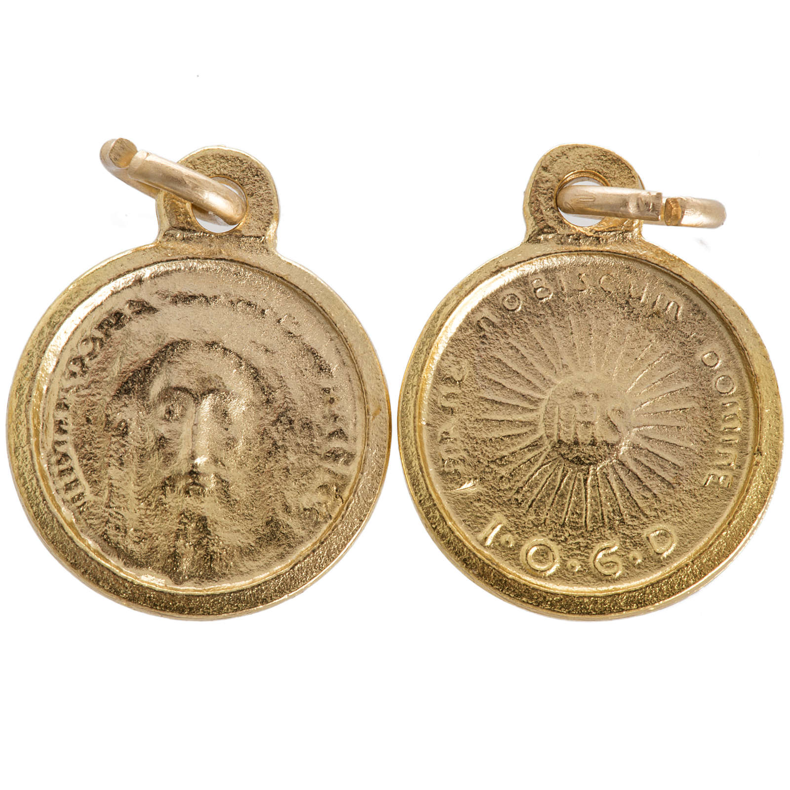Face of Christ round medal in golden metal 16mm 4
