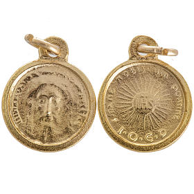 Face of Christ round medal in golden metal 16mm s1