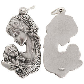 Medalla Virgen y Niño en metal oxidado 35mm s1