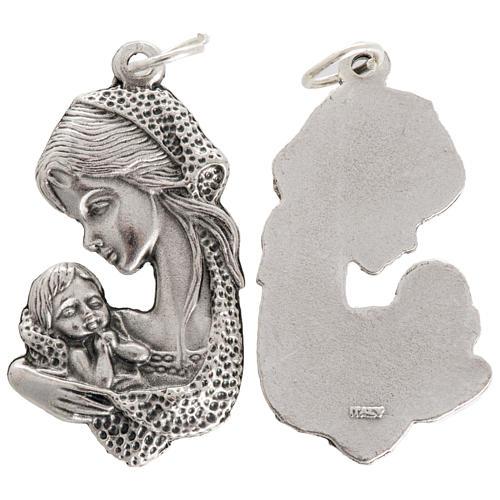 Medalla Virgen y Niño en metal oxidado 35mm 1