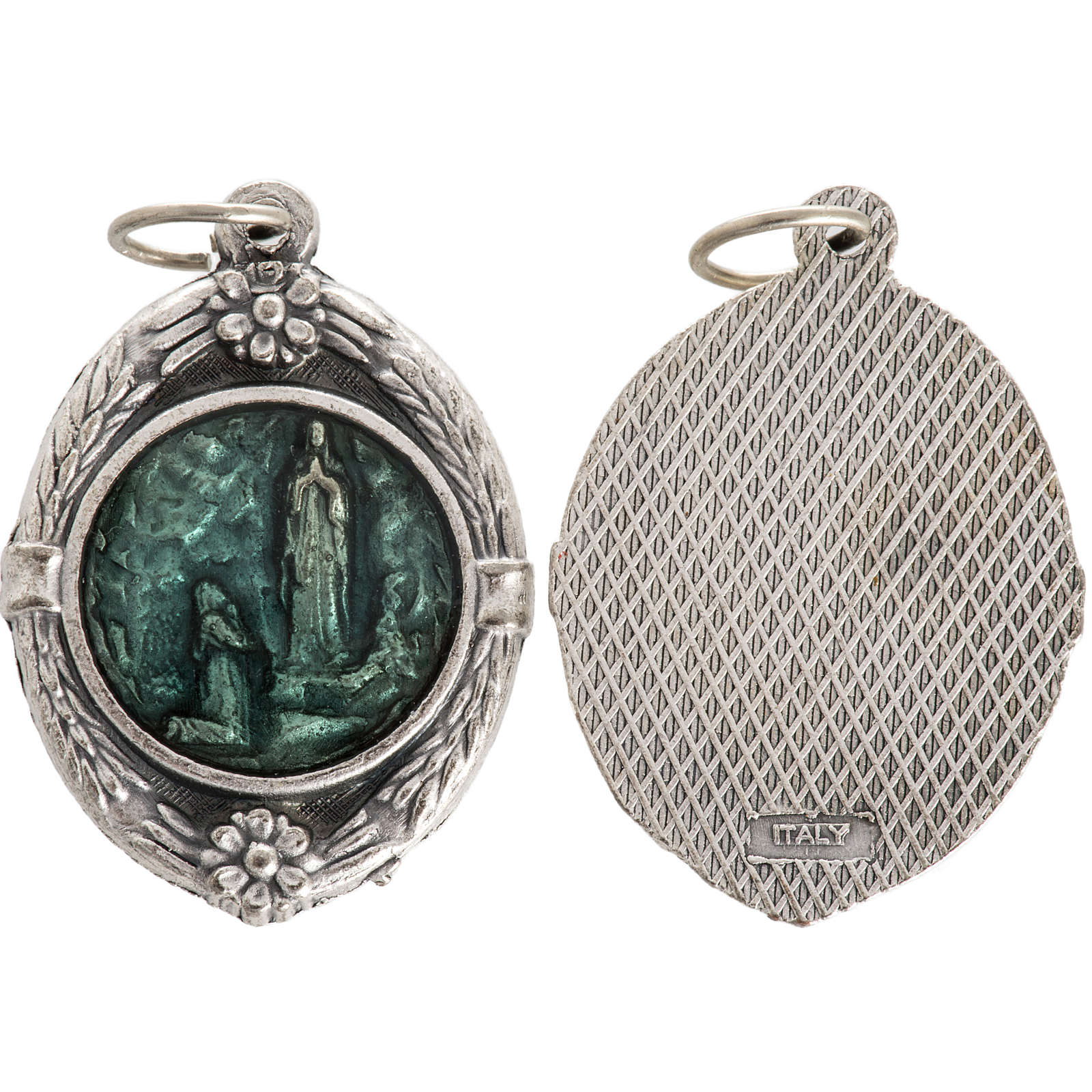 Medal with Our Lady of Lourdes, enamelled silver metal 35mm 4