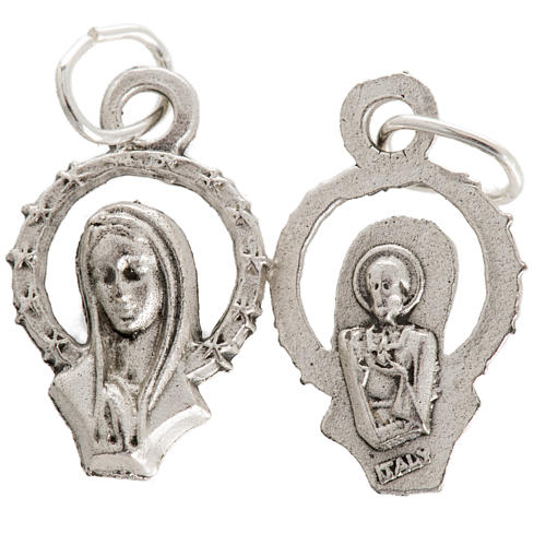 Medal of Our Lady praying, silver metal 17mm 1