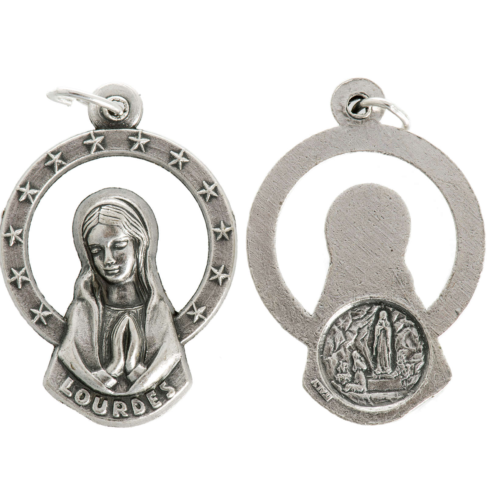 Medal of Our Lady of Lourdes praying, metal 28mm 4