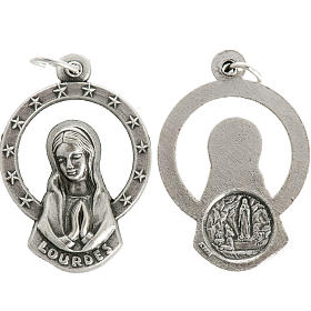 Medal of Our Lady of Lourdes praying, metal 28mm s1