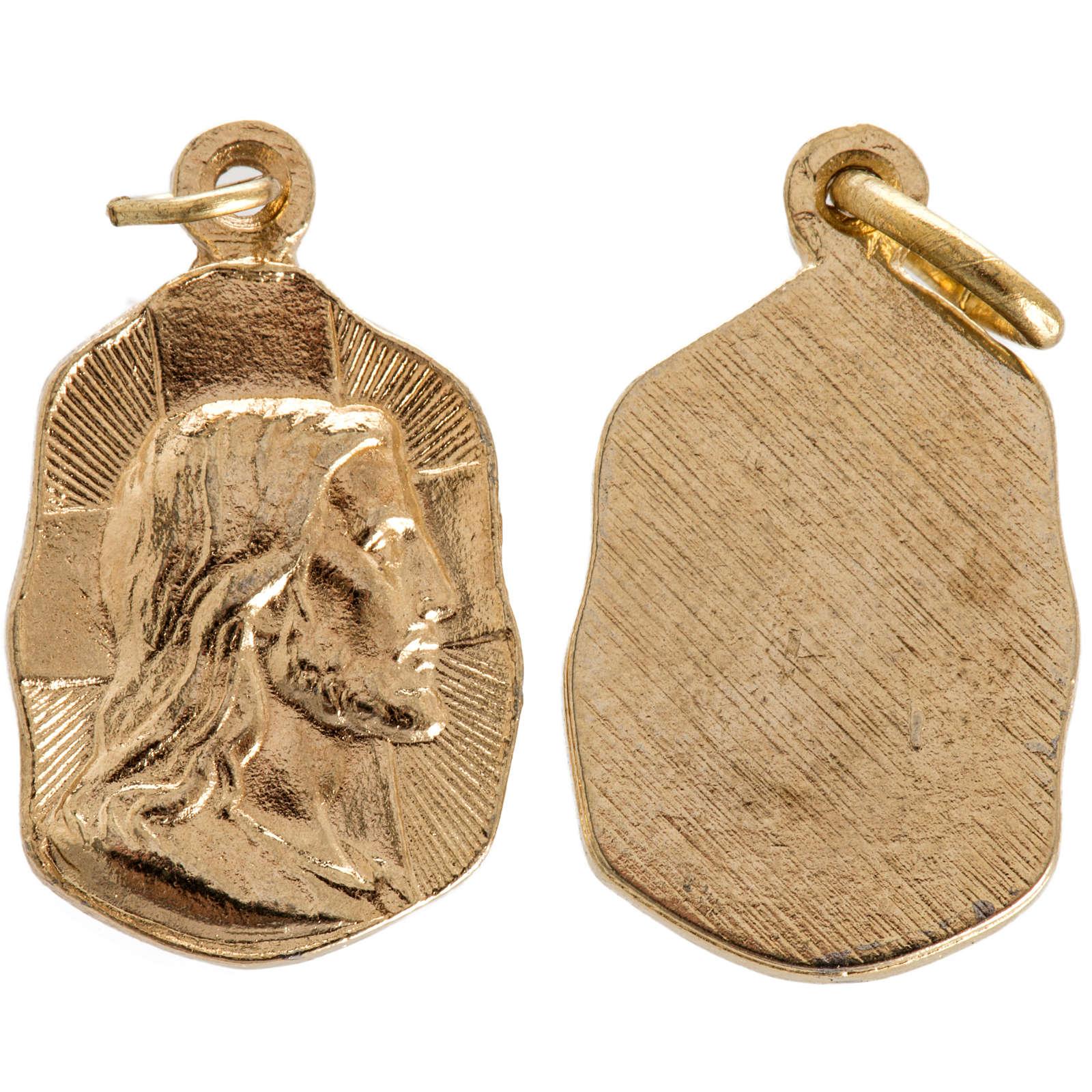 Face of Christ medal in golden metal 19mm 4