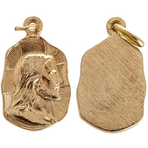 Face of Christ medal in golden metal 19mm 1
