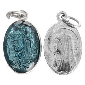 Medaglia Madonna Lourdes alluminio smalto azzurro 15 mm
