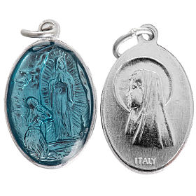 Medals: Miraculous Medal in steel and light blue enamel 15mm