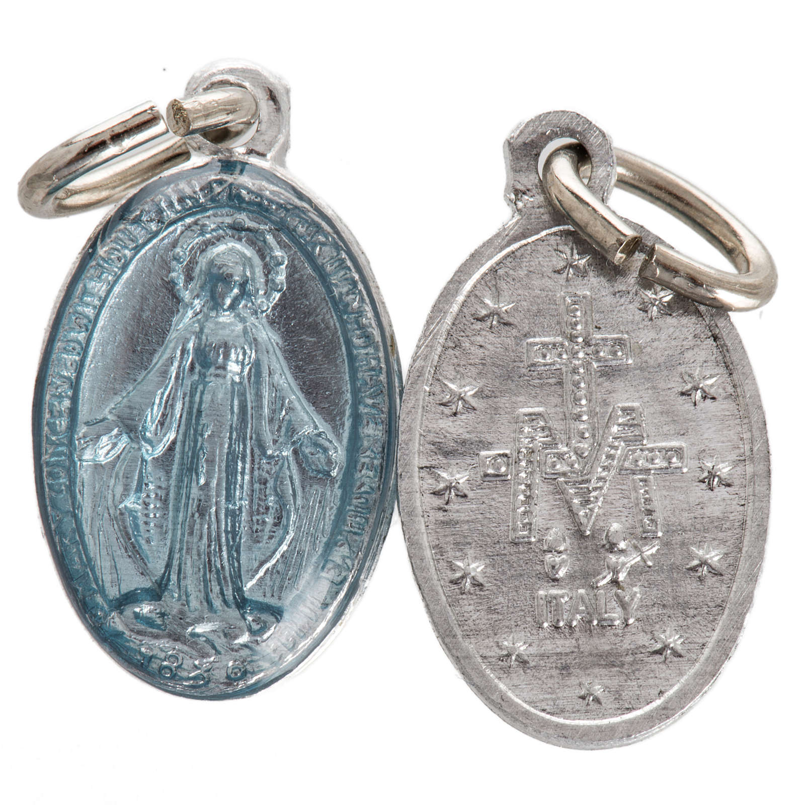 Medal of Our Lady of Lourdes, steel and light blue enamel 18mm 4