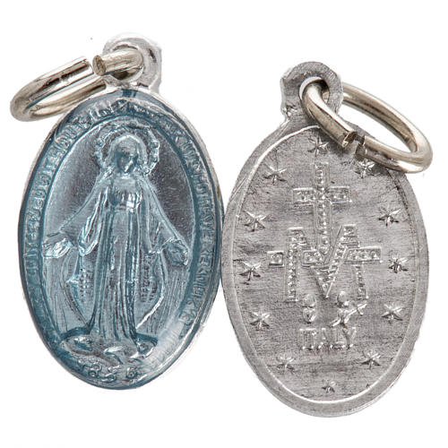 Medal of Our Lady of Lourdes, steel and light blue enamel 18mm 1