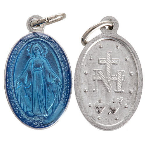 Miraculous Medal in steel and light blue enamel 18mm 1