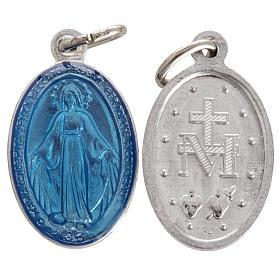 Medaglia Madonna Miracolosa alluminio smalto azzurro 18 mm