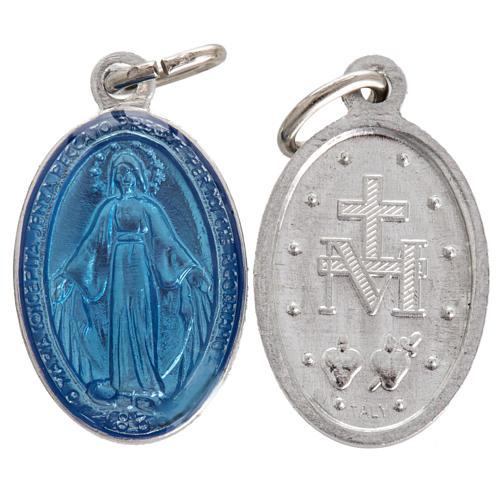 Miraculous Medal in steel and light blue enamel 18mm 1