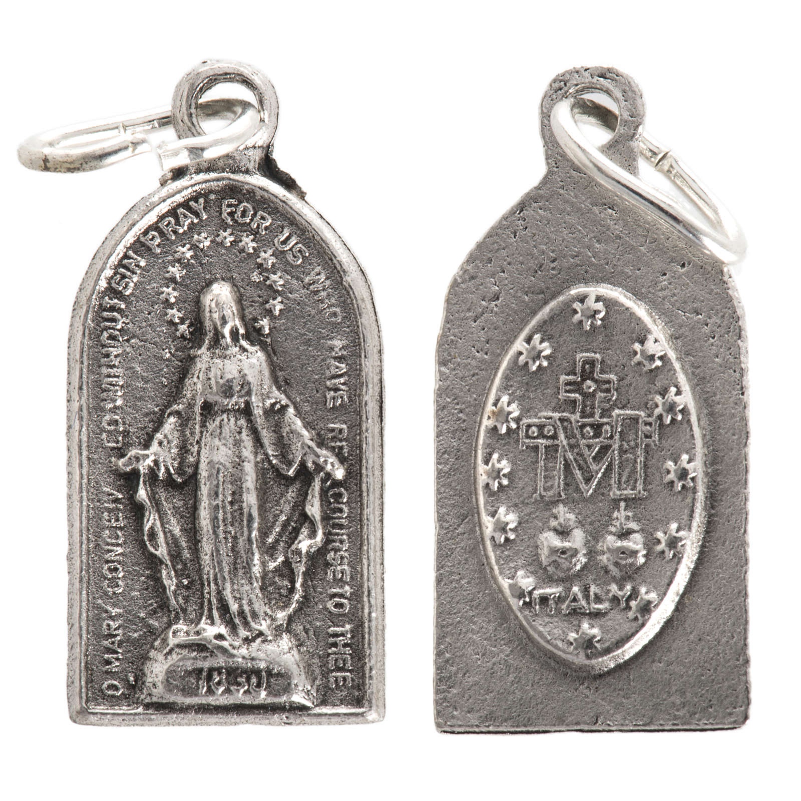 Miraculous Medal in oxidised steel 20mm 4