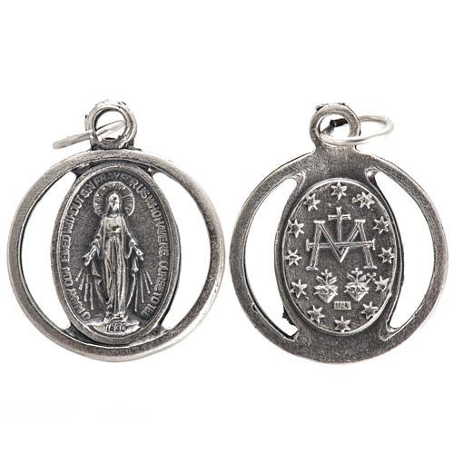 Miraculous Madonna, medal in oxidised steel 20mm 1