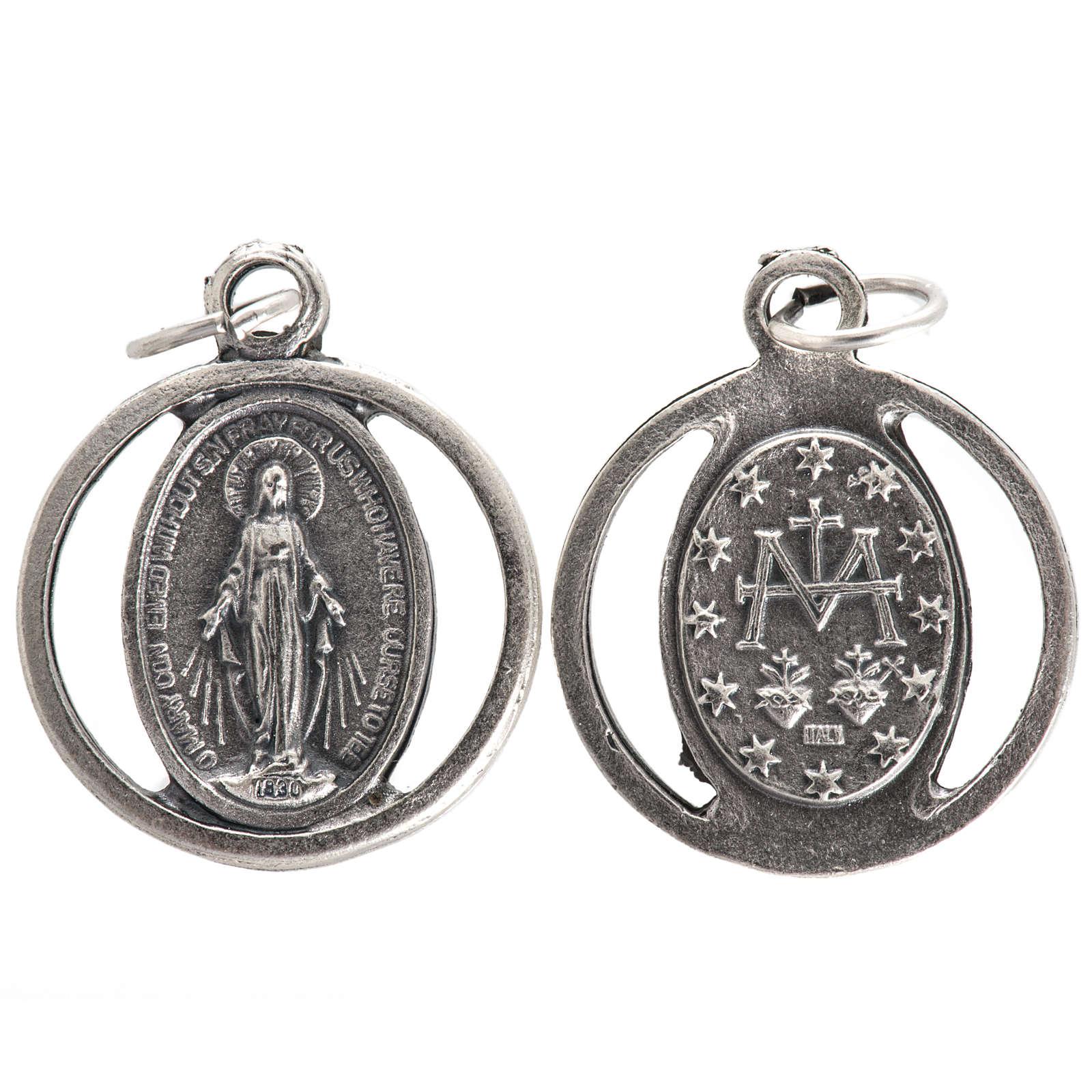 Medalla en metal oxidado de la  Virgen Milagrosa 20mm 4