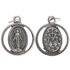 Medalla en metal oxidado de la  Virgen Milagrosa 20mm s1