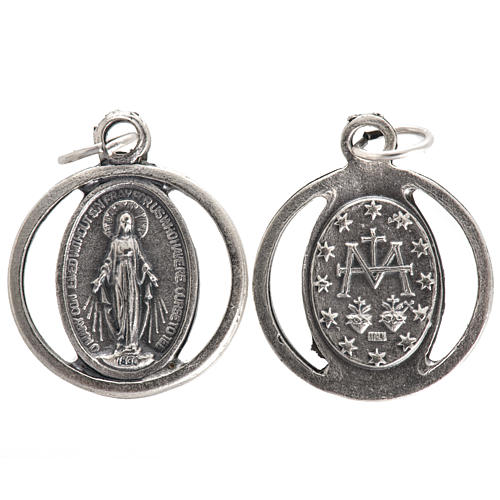 Medalha Nossa Senhora Milagrosa metal oxidado 20 mm 1