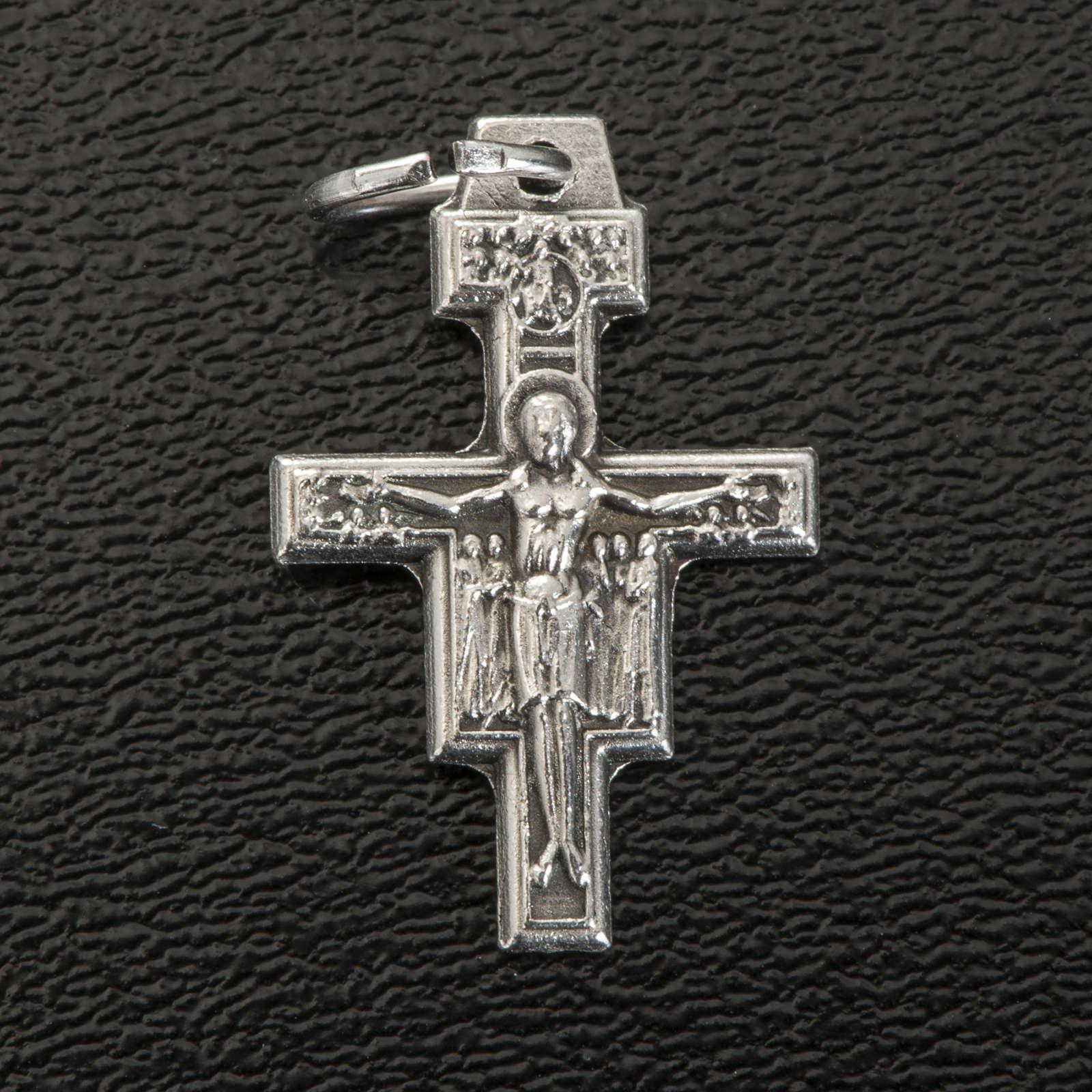 Croce pendente San Damiano metallo argentato h 2 cm 4