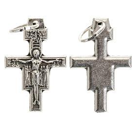 Croce pendente San Damiano metallo argentato h 2 cm s1