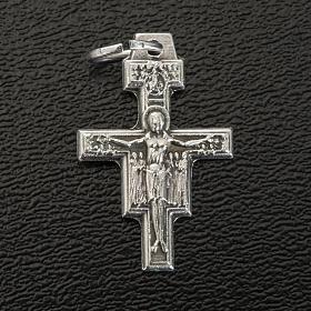 Croce pendente San Damiano metallo argentato h 2 cm s2