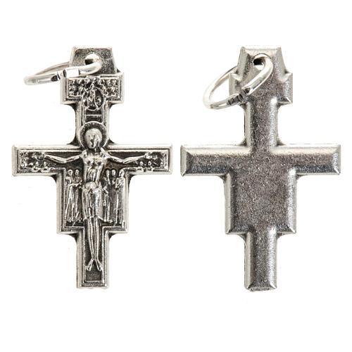 Croce pendente San Damiano metallo argentato h 2 cm 1