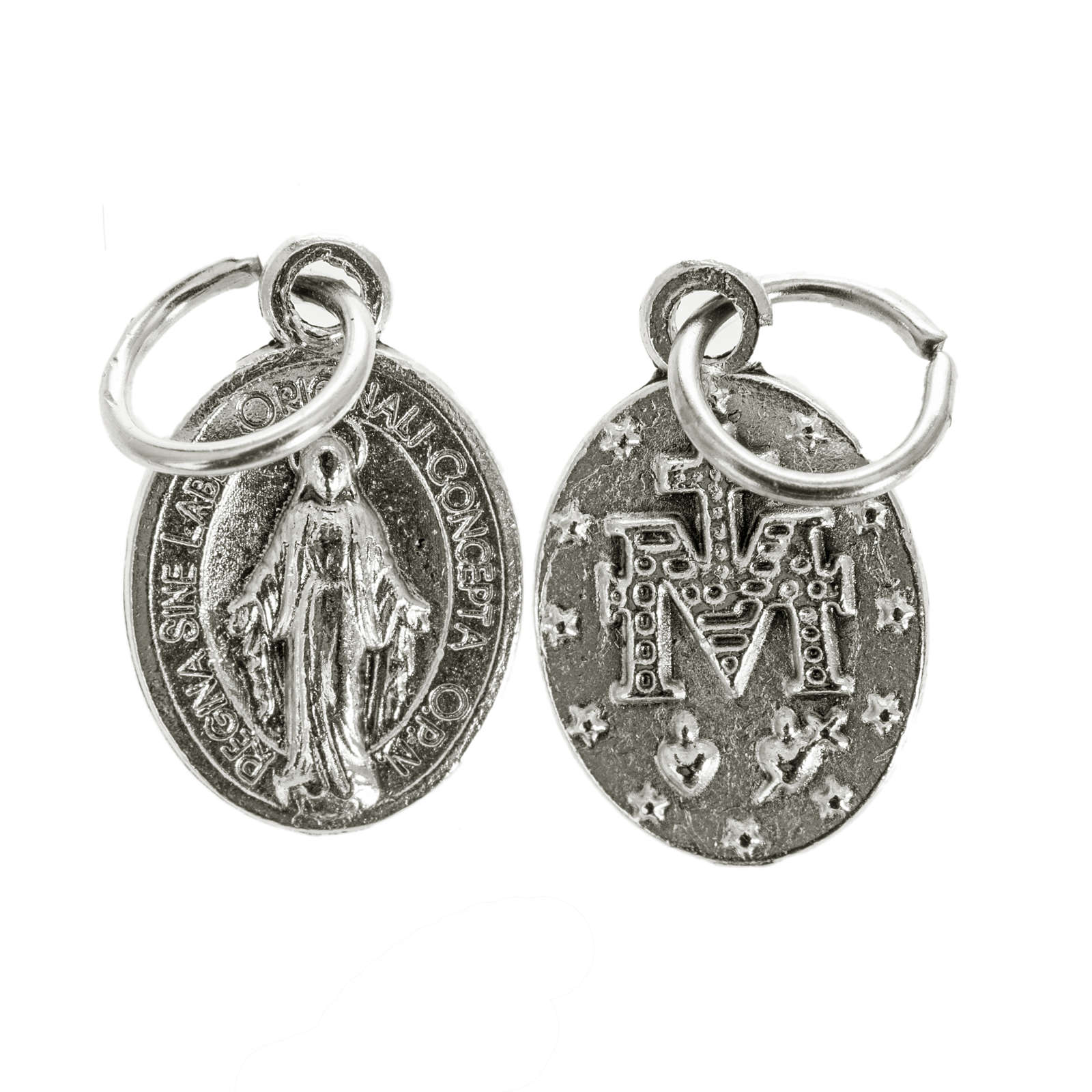 Miraculous Medal, oval shaped in silver metal 12mm 4