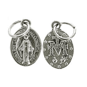 Medals: Miraculous Medal, oval shaped in silver metal 12mm