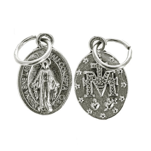 Miraculous Medal, oval shaped in silver metal 12mm 1
