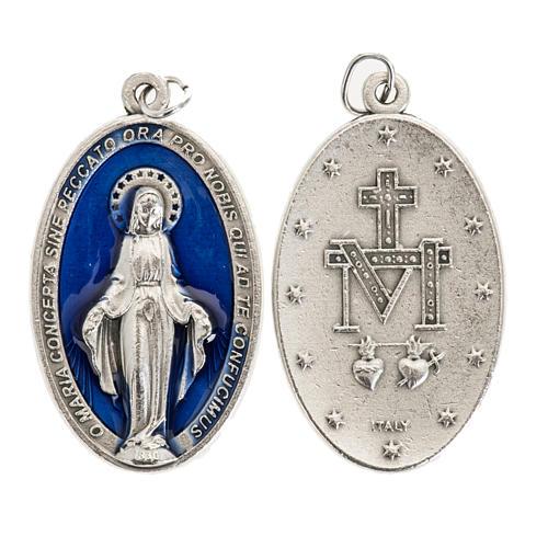 Miraculous Medal, oval in silver metal blue enamel H4cm 1
